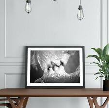 LOVER KISS BLACK AND WHITE  ART FRAMED POSTER PICTURE PRINT ARTWORK 4 SIZES