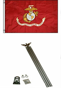 3x5 U.S. EGA Marine Marines USMC Flag w/ 6' Ft Aluminum Flagpole Flag Pole kit