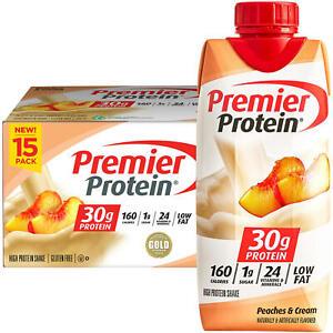Premier Protein 30g High Protein Shake, Peaches & Cream (11oz, 15 pk)