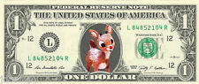 Rudolph the Red-Nosed Reindeer #2 Christmas {Color} Dollar Bill -REAL Money!