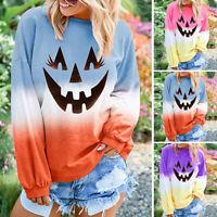 Womens Long Sleeve Sweatshirt Colorblock Halloween T Shirt Pullover Tops Blouse