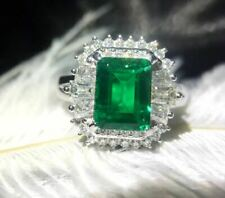 3.20Ct Emerald Cut Green Emerald Halo Engagement Ring In 14K White Gold Finish