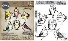 Tim Holtz Sizzix BIRD CRAZY Thinlits Die And Cling Stamp Set THS212