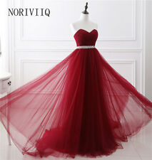 Stock Red Long Evening Formal Party Ball Gown Prom Bridesmaid Dresses Size 2-16