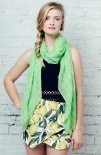 BNWT Bright Green Seed head Design Unusual Poly Cotton Large Scarf Hijab