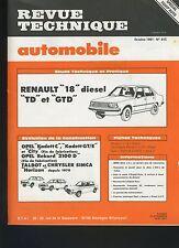 (33A) REVUE TECHNIQUE AUTOMOBILE RENAULT 18 diesel / OPEL KADETT REKORD