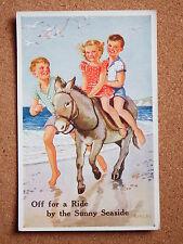 R&L Postcard: Valentine's Donkey Series, Rowles, No.1813, 1950s Children