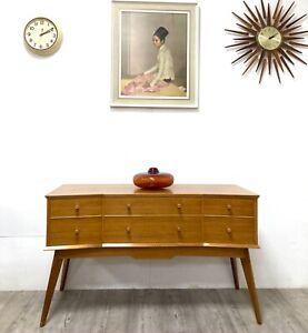 Alfred Cox Mid Century Walnut & Maple Lowboy Drawers Sideboard
