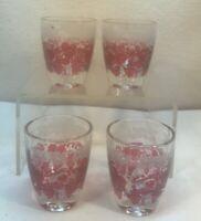 Vtg 4pc 1940's France Made Cranberry Red Cherry Grapes Vine Shot Glasses Bar Set