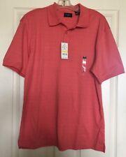 HAGGAR Men's Orange Coral Short Sleeve Collared Polo Shirt Size Medium New
