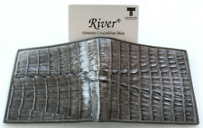 Genuine Real Tail Crocodile Alligator Skin Leather Man Bifold Gray Wallet