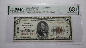 $5 1929 Lyons Kansas KS National Currency Bank Note Bill! #14048 Choice UNC63EPQ