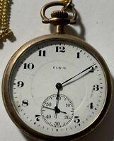 Vintage Elgin Pocket Watch Gold Toned Ornate Bird Back B&B Royal W2-09