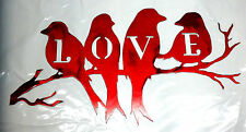 12 inch Love Birds on Branch Red Metal Wall Art Stencil Craft Sign Decoration