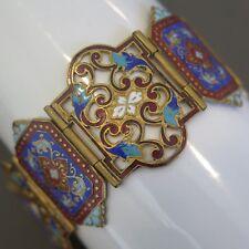 "Vintage French Art Deco Champleve Enamel 1.25"" Wide Bracelet"