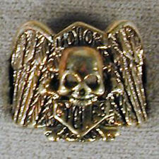 1 DELUXE SHIELD SKULL AND BONES SILVER BIKER RING BR100 mens NEW jewelry RINGS