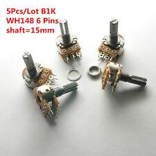 5Pcs WH148 15mm 6 Pin Dual Stereo Linear Potentiometer Pot B1K 1K Double Rotary