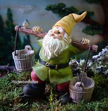 Miniature Gnome With Buckets MG 241 on a pick Fairy Garden Figurine