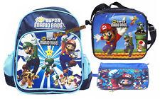 Mario 32cmH Backpack Lunch Bag ( Meal Box & Bottle) Shoulder Bag Pencil bag
