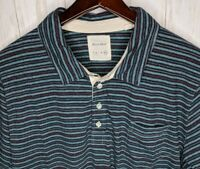 BILLY REID Blue Striped Cotton Stretch 4-Button S/S Polo Shirt Mens Sz 2XL EUC!