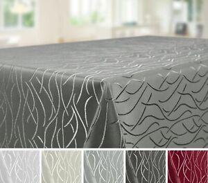 Tischdecke Größe u. Farbe wählbar, Eckig Oval Rund, Streifen Wellen Damast