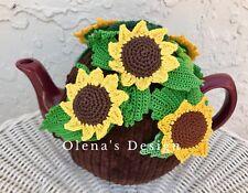 Crochet tea cozy brown cover sunflower tea cosy warmer autumn fall harvest gift