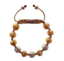 NEW $780 NIALAYA Women's Gold Sea Pearls Pink CZ 925 Silver Logo Bracelet s. L