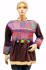 Indian Vintage Jacket Choli Tunic Top Antique Banjara Embroidered work Brown