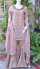 Pakistani Indian Gharara Kameez Party Wear Embroidery Wedding Bridal S,M