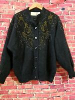 Vintage BELLDINI Black lambswool Angora Rabbit  Embellished Sweater Coat Size L