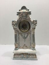 Antique China Clock German Scroll Hands 11�w/teal Gold Scroll Pillar Face Works