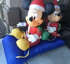 """Christmas Airblown Inflatable Mickey Mouse And Minney Disney Blow Up 54""""x60""""x30"""""""