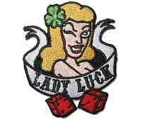 Lady Luck Dice Clover Leaf Rockabilly Iron Sew On Embroidered Shirt Bag Patch