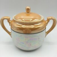Vtg Noritake Japan Hand Painted Lustreware Peach Lustre Covered Sugar Bowl Lid