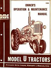 Minneapolis Moline U UT Tractor Operator's Manual Reproduction
