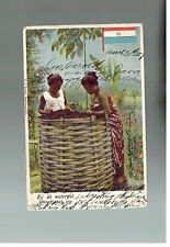 1907 Jakarta Netherlands Indies color postcard Cover to USA Women At the Well