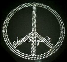 Large Peace Sign Rhinestone Iron On Transfer Bling