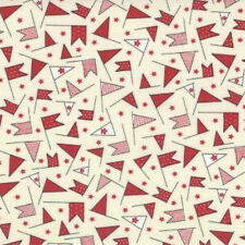 Moda Sweetwater Wishes Cake Topper Fabric in Vanilla Red 5536-14 100% Cotton