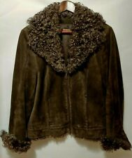 Ladies Suede Leather Jacket UK 12 Brown Shearling Lambs Wool Collar Soft Luxury