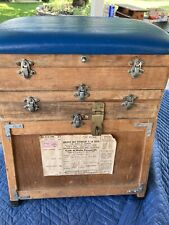 Vintage Wood French Fishing Tackle Box 5 Compartments With Seat & Strap To Carry