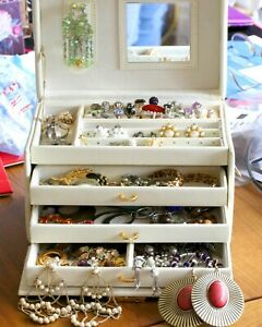White Leather Box full of Vintage and Antique Jewellery- rings, earrings ...