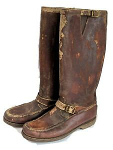 Vtg 30/40's Abercrombie Fitch Gokey Gro Cord King B Bullhide Leather Boots sz 9