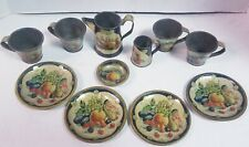Vintage Tin Toy Dishes Tea Set Made in Germany Fruit