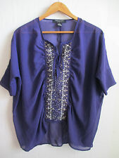 TWENTY SIX womens purple sheer blouse top S SMALL beads loose fit v-neck