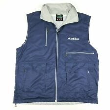 Adidas Equipment Blue Gray Lined Athletic Vintage Zip Pockets Vest Mens XL