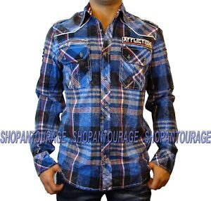 Affliction Until The Fall 110WV397 Men`s New Blue Plaid L/S Button-Down Shirt
