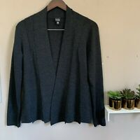 Eileen Fisher Merino Wool Open Front Cardigan Jacket Womens Size Small S Gray