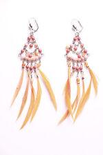 Exotic Orange Beads/feather Embellished Chandelier Earrings(Zx228))