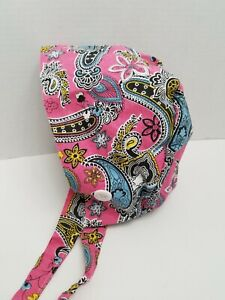 Pink Paisley Ponytail Scrub Cap with Ear Saver Buttons