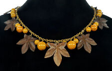 ANTIQUE ART DECO CARVED WOOD MAPLE LEAVES BAKELITE BEADS CHAIN NECKLACE